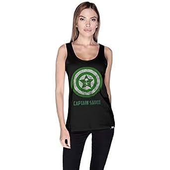 Creo Black Cotton Round Neck Tank Top For Women