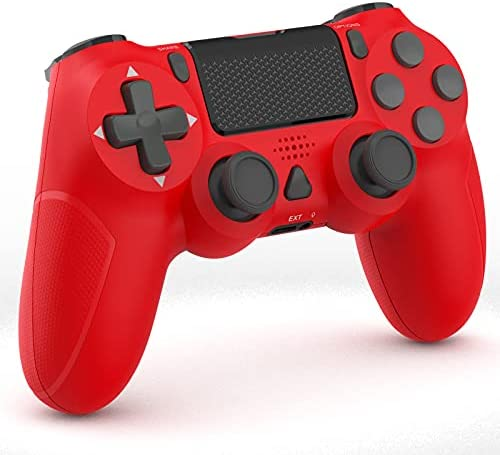 YCZHDV Wireless Pro Controller, Remote Gamepad Compatible with P-S-4/Pro/Slim with Dual Motors and Motion Sensor, Built-in 1000mAh Rechargeable Battery and Audio Jack(red)
