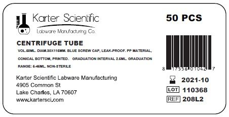 Centrifuge Tubes, 50ml, 30x115mm, Blue Cap, Conical, No-Leak, Karter Scientific 208L2 (Pack of 50)