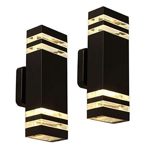 LANFU LED Wall Sconce Waterproof Porch Light 12W, Black Modern Waterproof Wall Lamps, 1000 Lumen, 3000k Warm White, IP65 Waterproof Outdoor Up/Down Light (2 PCS)