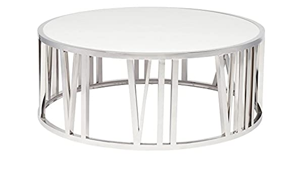 Amazon.com: Roman Coffee Table In White And Stainless By Nuevo: Kitchen U0026  Dining