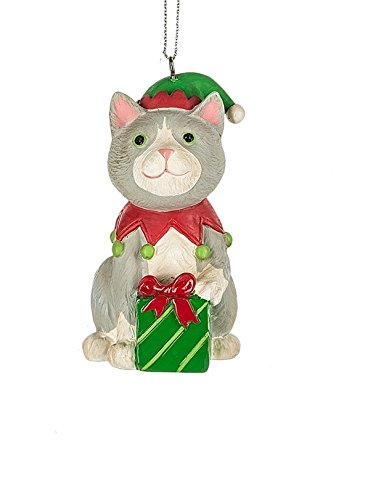 [Cat Wearing Elf Hat Costume Kitten Ornament - Gift Boxed] (Animal Costumes Made From Recycled Materials)