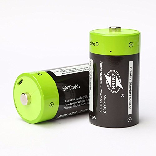 2 Pack High Capacity 6000mAh D Cell Battery Pack li-ion lithium Micro USB Rechargeable Batteries 2 in 1 Micro USB Cable Included