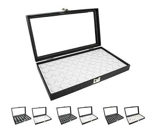 Novel Box® Large Glass Top Black Leatherette Jewelry Display Case + 50 Count Jar Insert Tray in White + Custom NB Pouch