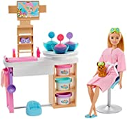 Barbie Face Mask Spa Day Playset with Blonde Barbie Doll, Puppy, 3 Tubs of Barbie Dough and 10+ Accessories to