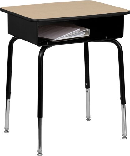 0.625' Natural (Flash Furniture Student Desk with Open Front Metal Book Box)
