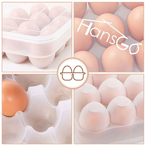 HANSGO Egg Holder for Refrigerator, Deviled Egg Tray Carrier with Lid Fridge Egg Dispenser Egg Storage Stackable Plastic Egg Containers, 34 Egg Box