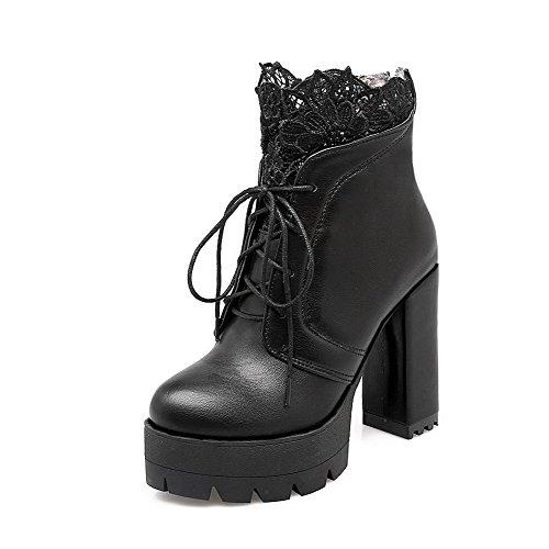 with Low Pu Women's Lace Top Boots Heels AgooLar Solid Zipper High Black zx6qZgZwfE
