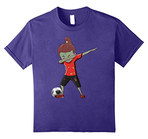 Kids Soccer Zombie Dab T shirt For Girls Halloween Gift 8 Purple