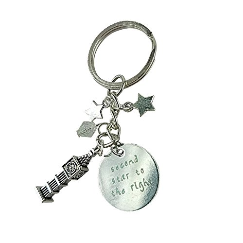Art Attack Silvertone Second Star To The Right Big Ben Clock Tower England UK United Kingdom Keychain - Star Right Tower