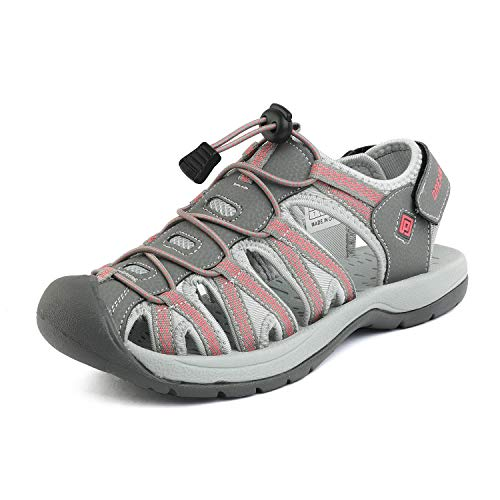 (DREAM PAIRS Women's 160912-W-NEW Grey Coral Adventurous Summer Outdoor Sandals Size 6 M US)