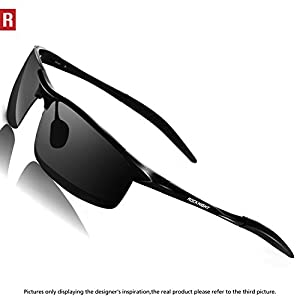 Rocknight Driving Polarized Sunglasses For Men UV Protection Ultra Lightweight Al-Mg Golf Fishing Sunglasses
