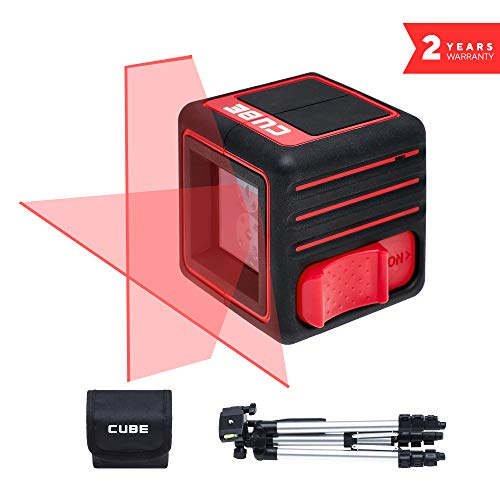 ADA Cube Professional Edition, Laser Level, Crossline Self-Leveling Laser Level Kit, 20 meters (65 feet) with Carrying Pouch, tripod, batteries and user manual A00343