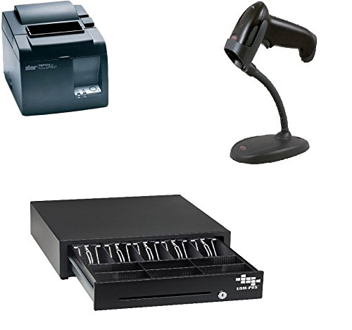 POS Hardware Bundle for Square Stand- Cash Drawer, Thermal Receipt Printer, Barcode Scanner [Compatible with Square Stand] (Square Register Scanner compare prices)