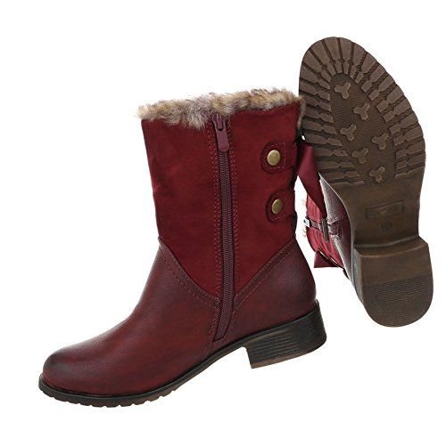 Damen Optik Used Schuhe Stiefeletten Weinrot Boots zOPzrwa