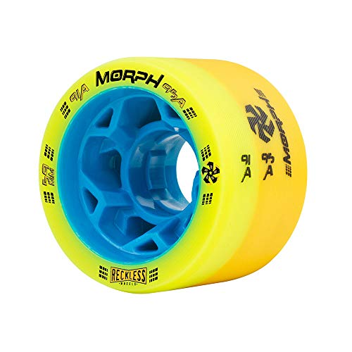Reckless Wheels - Morph - 4 Pack of 38mm x 59mm Dual-Hardness Roller Skate Wheels   91A/95A   Lime/Yellow ()