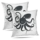 Alricc Set of 2 Underwater with Tentacles Ocean Octopus Monster Black Cartoon Seafood Decorative Throw Pillows Cushion Cover for Bedroom Sofa Living Room 18X18 Inches