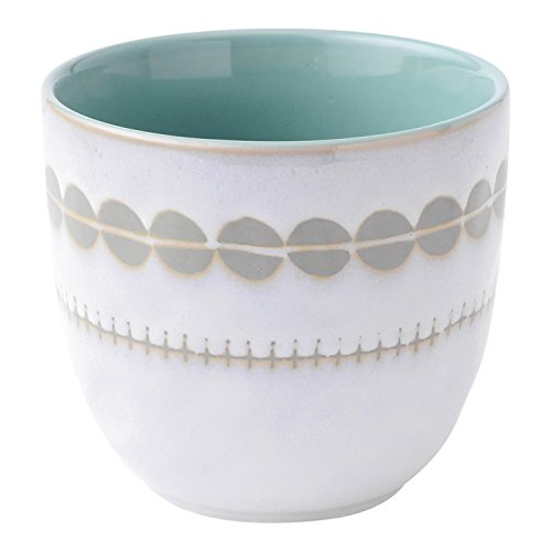 Hallmark Home Coordinating Glazed Stoneware, Small White Multi-Use Patterned Bowl with Light Blue/Teal Interior