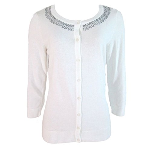 (AGB Women's Button Down Cardigan Sweater Embellished 3/4 Sleeve Ivory (Small))