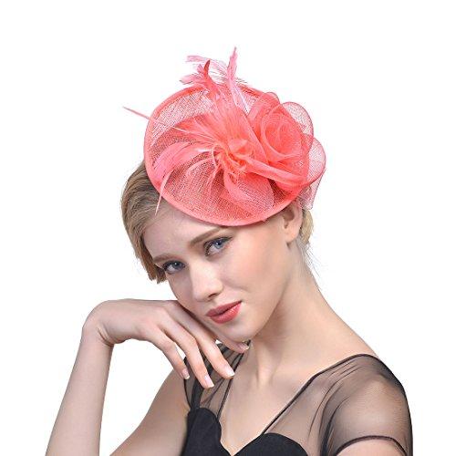 - BlingblingDress Women's Vintage Sinamay Feather Fascinator Hat Special Party Pillbox Hat Flower Derby Hats for Women,Watermelon