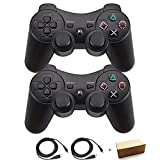 Molgegk Wireless Bluetooth Controller For PS3 Double Shock - Bundled with USB charge cord (Black and Black)