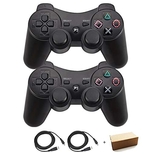etooth Controller For PS3 Double Shock - Bundled with USB charge cord (Black and Black) ()