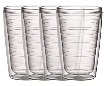 Boston Warehouse Insulated 16 oz Plastic Tumblers, Clear Collection Set of 4 40200