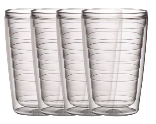 Insulated 16-Ounce Plastic Tumblers, Clear Collection Set of 4, BPA Free, New and Improved by Boston (Tumbler Drinkware Set)