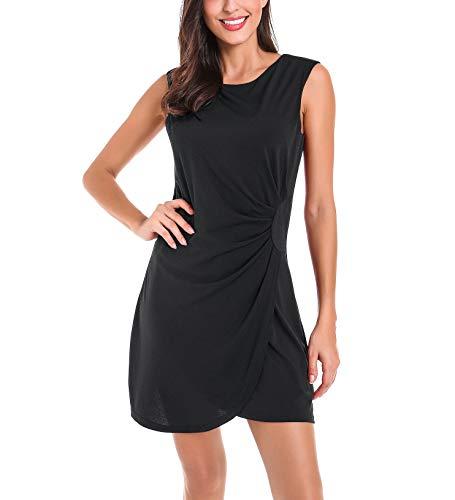 (Le Vonfort Modest Faux Wrap Midi Dress for Womens, Summer Sleeveless Elegant Cozy Pure Color Dresses Black Medium)