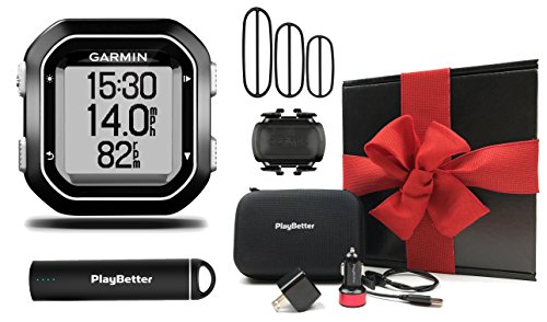Connect Garmin Gps Pc (Garmin Edge 25 Cadence Bundle Gift Box with Cadence Sensor, PlayBetter Portable USB Charger, Wall/Car USB Adapters & Hard Carrying Case, Bike Mount, USB Cable | GPS Cycling Computer | Black Gift Box)