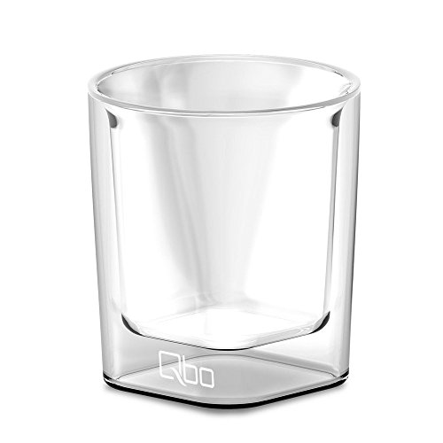Qbo Espresso Glas 322209 2 Gläser (hochwertiges Glas mit gelasertem Qbo-Logo, mundgeblasen, 80 ml Füllmenge) 60 x 60 x 65 cm