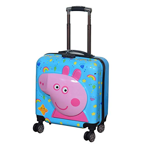 SWARN Stylish Square Cabin Luggage Peppa Pig PC Trolley Suitcase Bag for Kid's  18 inch | Blue