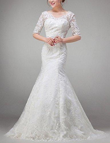 Lactraum HS1006 Meerjungfrau Brautkleider Hochzeitskleider Spitze Schnürung Strassteinen Pailletten Weiß Maxi Bestickt