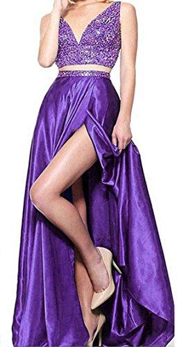 Ccbubble 2 Pièces Robes De Bal 2018 Robes De Soirée De Perles Col V Violet