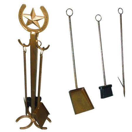 Leigh Country 4Pc Fireplace Set With Horseshoe and Star