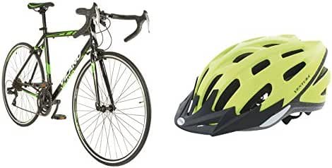 Vilano R2 Aluminum Commuter Road Bike with 700c Wheels with Neon Safety Sport Helmet M (54-58 cm)