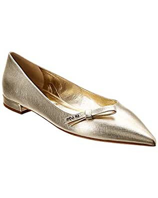4e60cb78bbb Image Unavailable. Image not available for. Color  Prada Pointy-Toe  Metallic Saffiano Leather Ballerina Flat