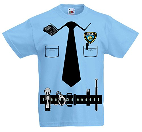 [Fresh Tees Police Cop Uniform Costume Tee Tuxedo T-shirts (Small)] (Funny Uniform Costumes)