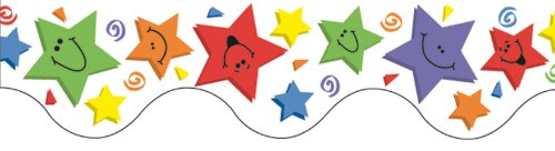 Eureka Multicolor Smiley Face Shooting Star Bulletin Board Trim and Classroom Decoration, 12pc, 3.25'' W x 37'' L