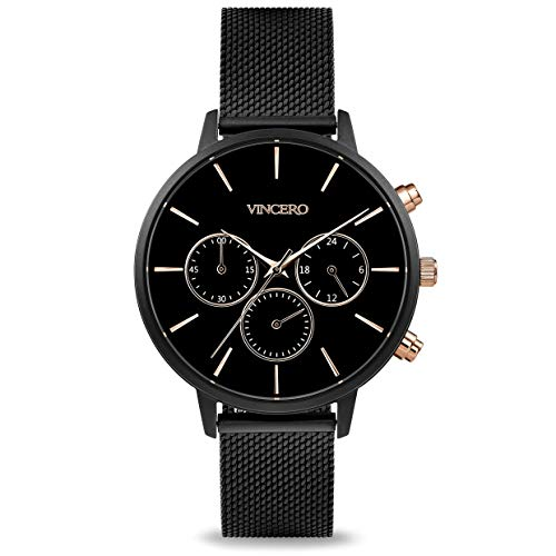 Vincero Luxury Woman's Kleio Wrist Watch with a Mesh Watch Band — 38mm Chronograph Watch — Japanese Quartz Movement (Matte Black + Rose)