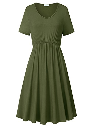 Women's Summer Fashion Casual Plus Size Short Sleeve Dress Green - 2