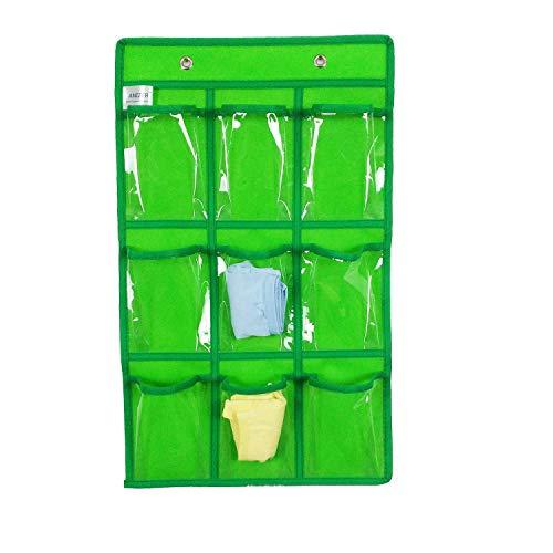 ANIZER Over Door Hanging Closet Underwear Sock Storage Cell Phone Jewelry Organizer Clear Pockets (Green, 9 Pockets) - Fabric 9 Pocket Organizer