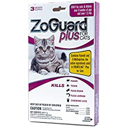 ZoGuard Plus Flea and Tick Prevention for Cats, Over 1.5 lbs, 3 Months, 3 Doses