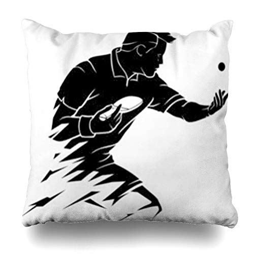 iDecorDesign Throw Pillow Covers Athlete Abstract Table Tennis Player Serve Ball Sports Recreation Bounce Accuracy Action Active Home Decor Pillow Case Square Size 18 x 18 Inches ()