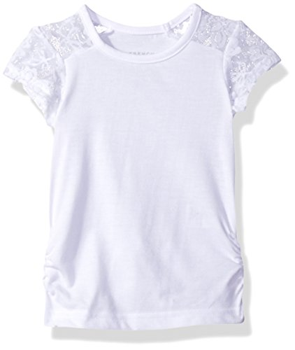 French Toast Baby Girls' Short Sleeve Lace Shoulder Tee, White, 12M (Girls Top)