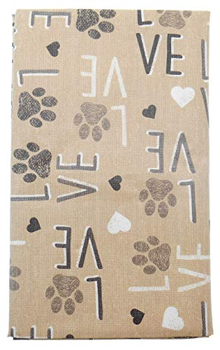- Vinyl Tablecloth Love and Dog Prints on Tan Background with Flannel Backing (52
