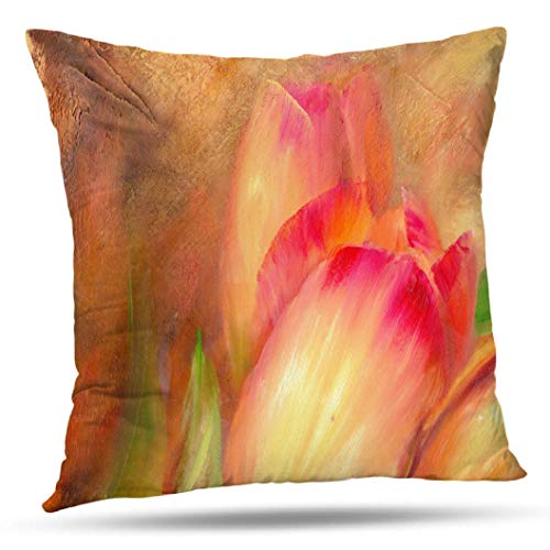 (KJONG Abstract Tulips Zippered Pillow Cover,Square Decorative Throw Pillow Case Fashion Style Cushion Covers(18 x 18 inch,Two Sides Print))