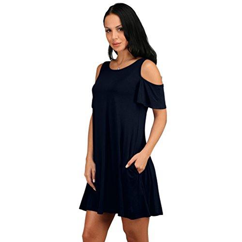 ZhiYuanAN Shirt Vestidos Para Mujer Atractiva Del Verano Del Color Sólido Bolsillo De La Falda Plisada Vestido Suelto Y Cómodo Mini T-Shirt Dress Zafiro
