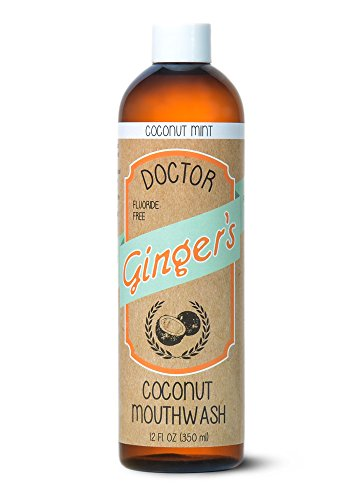 Dr Gingers Coconut Oil Pulling & Whitening Mouthwash | Natural Ingredients | Freshens Breath & Promotes Good Oral Health | Delicious Coconut Mint Flavor | 12 oz