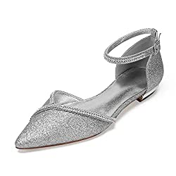 Women's Flat Pointed Toe Sequin Bridal Shoes